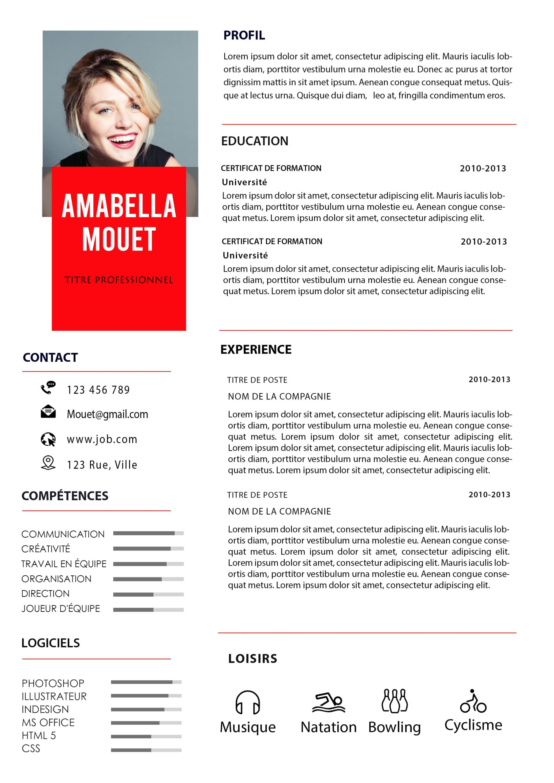 CV WORD SIMPLE ROUGE GRATUIT