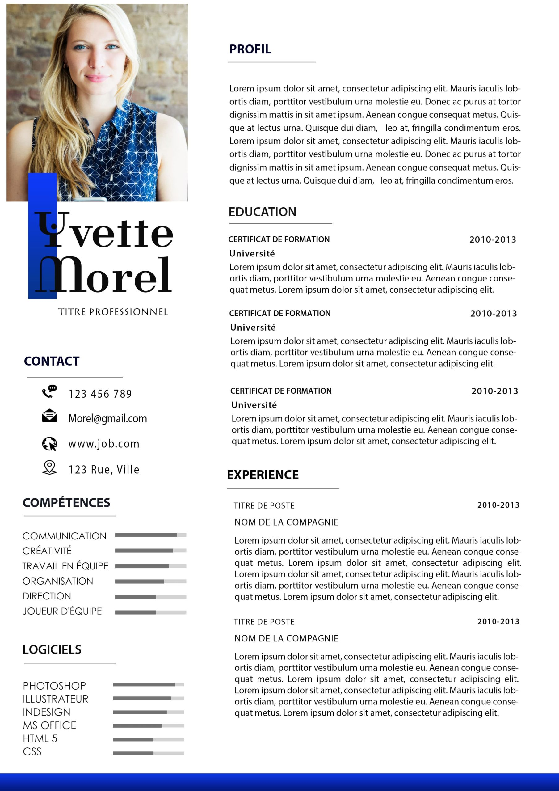 EXEMPLE DE CV SIMPLE DE 02 PAGES